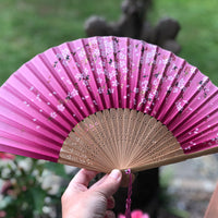 Luxury Bamboo Silk Fan - Pink Cherry Blossoms