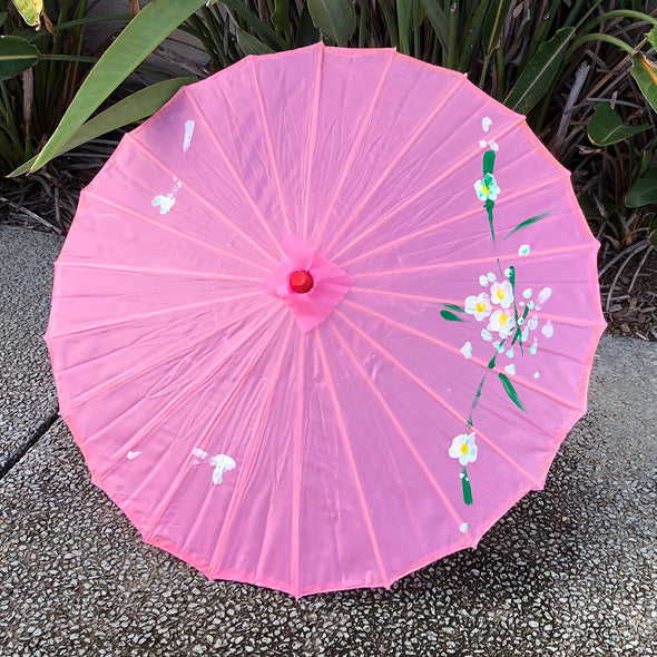 pink Budget hand painted nylon parasol - Chinese blossoms