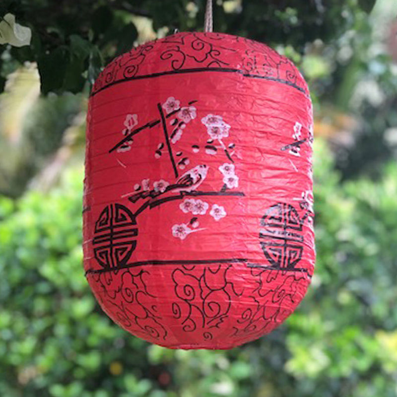 Cherry blossoms and birds red paper lantern (cylinder 25 x 35cm)