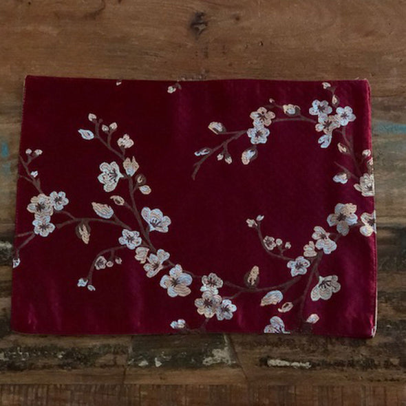 Red Chinese Cherry Blossom Silk Table Mat