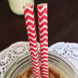 red chevron paper straws (on heart doily)