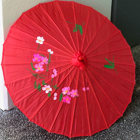 red Chinese blossoms parasol