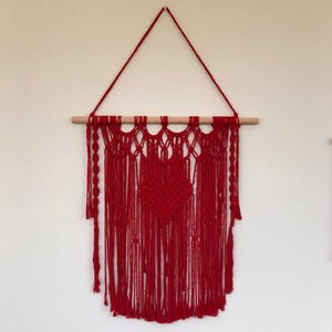 Valentine - red heart macrame hanging (68cm high)