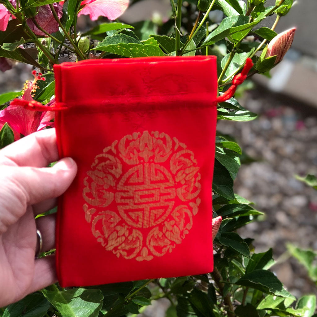 Chinese Red Silk Bag - Longevity / Dragon design