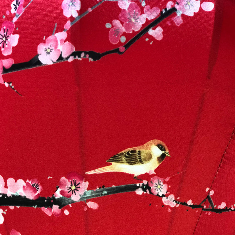 Red Silk Lantern - Birds & Cherry blossoms