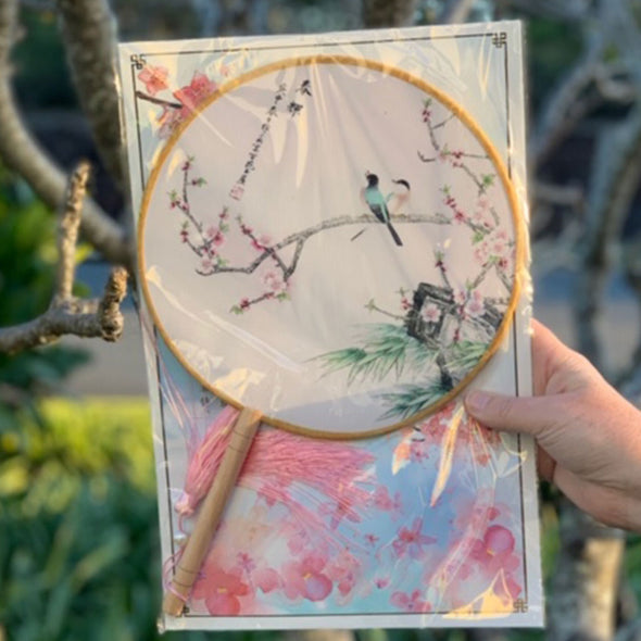 Elegant Round Silk Fan - Birds and Blossoms