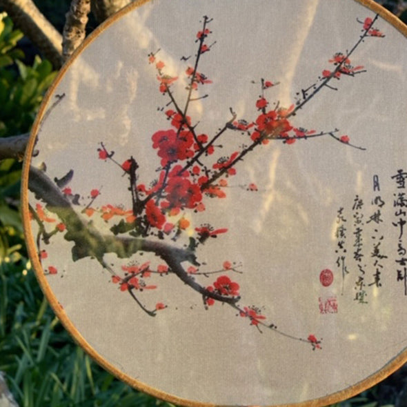 Elegant Round Silk Fan (sheer) - Red Cherry Blossoms