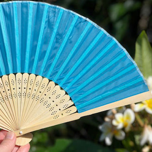 Bamboo/Silk Fan bright blue