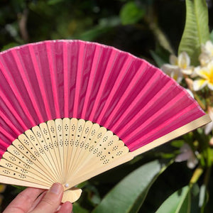 bamboo silk fan dark pink