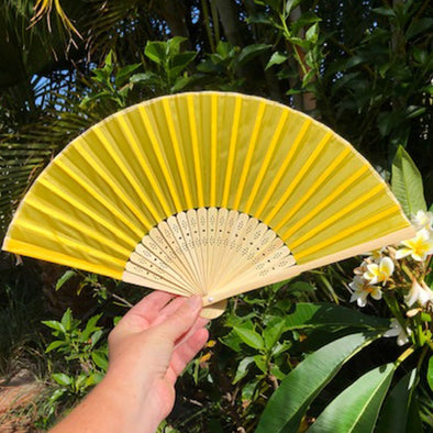 Bamboo/Silk Fan Golden Yellow