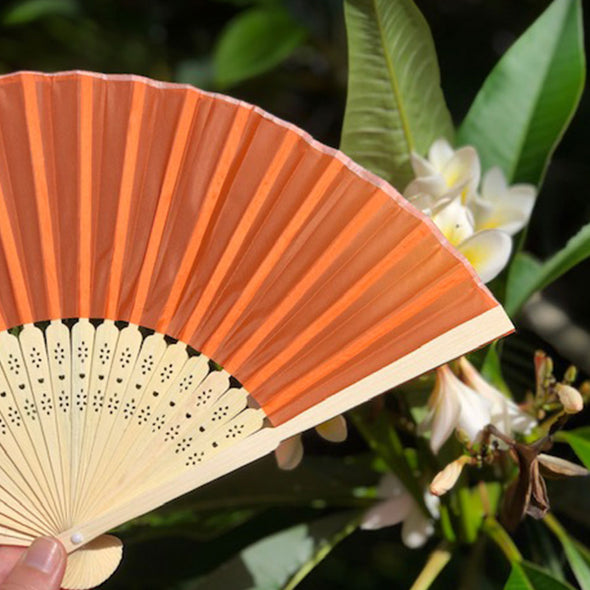 Bamboo/Silk Fan orange