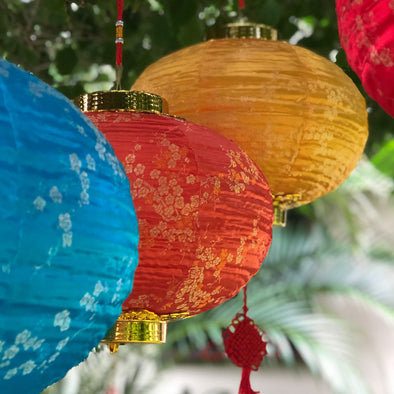 Chinese Silk LED Lantern - (WARM WHITE lighting included)