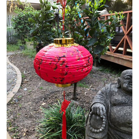 Red lanterns - Chinese Silk LED Lantern - (lighting included)