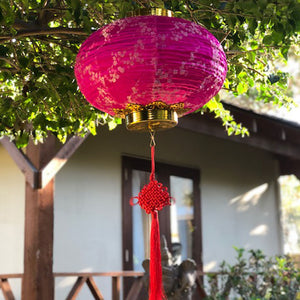 Chinese Silk LED Lantern pink cherry blossom - (lighting included)