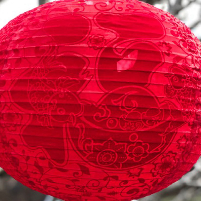 Large Red Silk / Velvet Prosperity Chinese Lanterns - 2 pack (45cm)