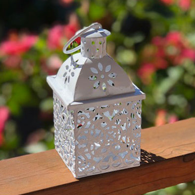 small gloss white metal lantern