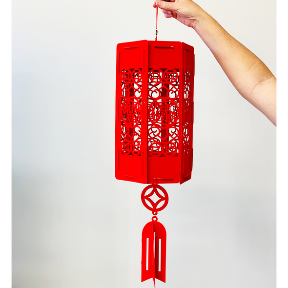 DIY Kit - Velvet Red Chinese Lantern - Hexagon (20cm x 70cm)