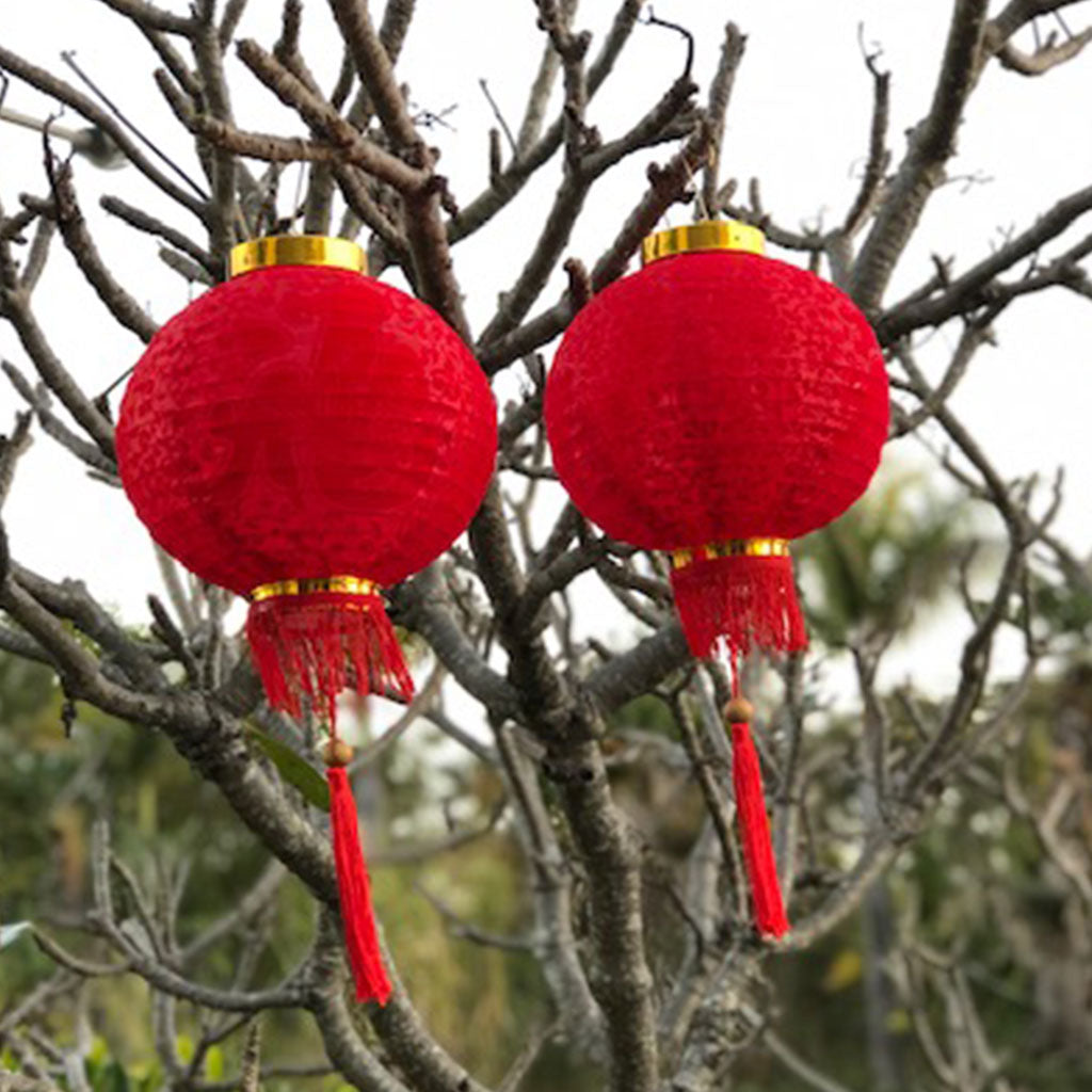 Red Silk / Velvet Prosperity Chinese Lanterns - 2 pack (25cm)