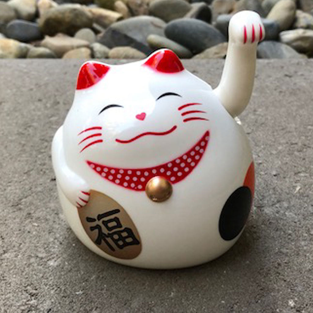 White fortune lucky cat