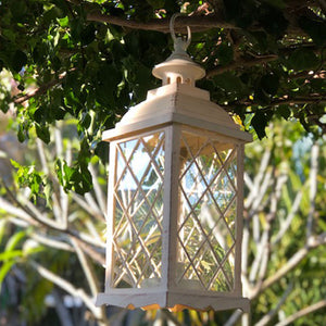Large Antique White Lantern with warm white fairy lights (13 x 35cm)
