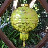 Yellow - Medium Chinese Gold Peony Flower Lanterns (30cm) - pack 2 nylon lanterns