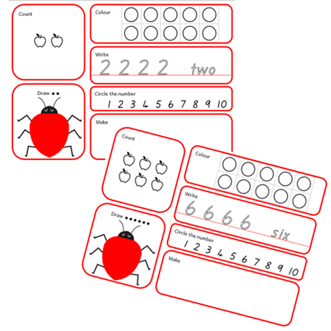 Number Mats 1-10 - Count, Colour, Copy Activities