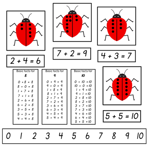 Addition Matching Ladybirds to 10