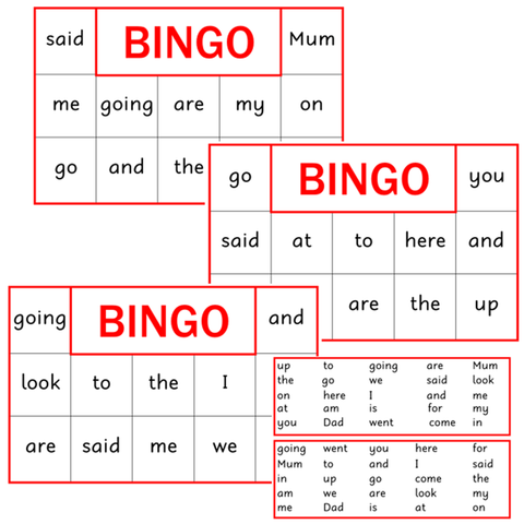 BINGO Boards - Set 1 - Red