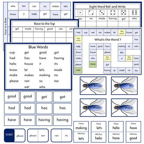 Sight Word Board Games and Activities - Set 3 - Blue