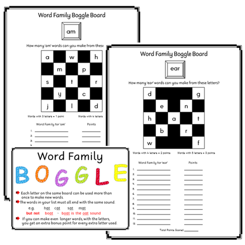 Boggle Boards- Building Word Families - Set 2