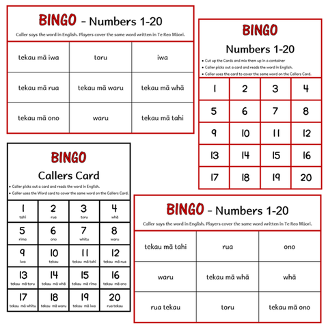 BINGO Boards - Numbers 1-20