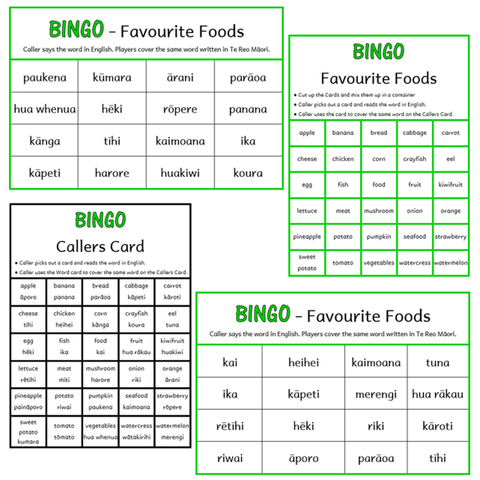 BINGO Boards - Foods