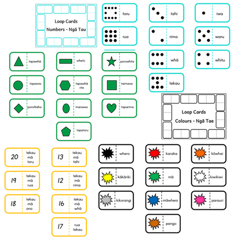 Matching Loop Cards - Shapes, Numbers, Colours