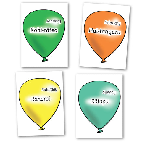 Te Reo Māori Weeks & Months of the Year Balloons