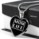 Mom Life - Gold/Silver Heart Necklace - Black