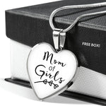 Mom Of Girls - Gold/Silver Heart Necklace - White