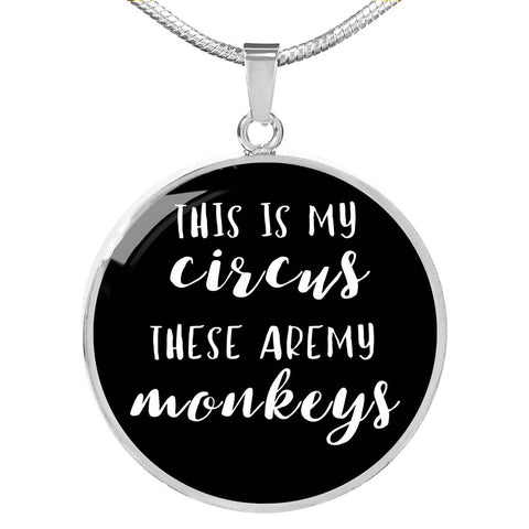This Is My Circus - Gold/Silver Round Necklace - Black