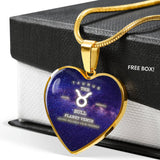 Taurus Gold/Silver Zodiac Heart Necklace