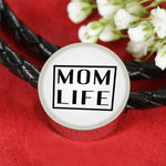 Mom Life - Round Leather Bracelet - White