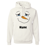 Snowman Personalized Adult Hoodie Sweatshirt