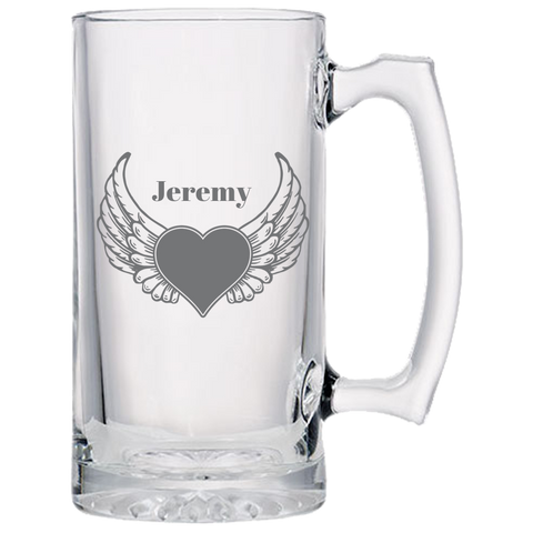 Heart Wings (Personalized) - Beer Mugs