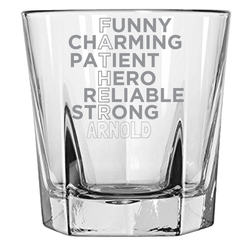 Father Fun Charming Patient Hero (Personalized) - Rock Glass