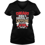 Chicago Nurse Survival - Dark - Ladies V Neck Tee