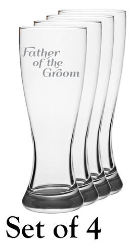 Father Of The Groom - Pilsner Glass - Set of 4
