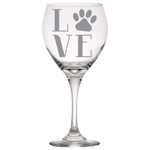 Love Paws Red Wine Glass Laser Etched