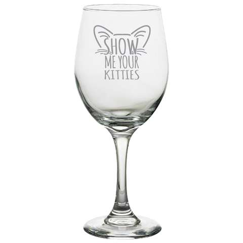 Show Me Your Kitties Gray - White Wine Glass