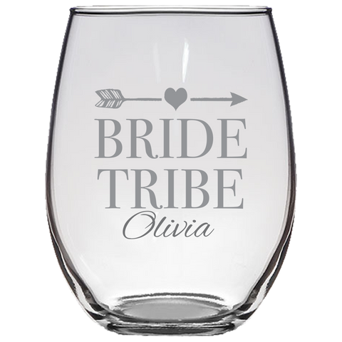 Bride Tribe (Personalized) - Stemless Wine Glass