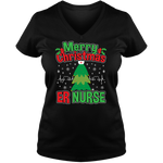 Merry Christmas ER Nurse - Ladies V Neck Tee