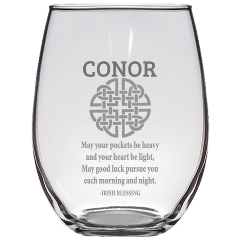 Celtic Knot Irish Blessing (Personalized) - Stemless Wine Glass