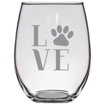 Love Paw Print - Stemless Wine Glass